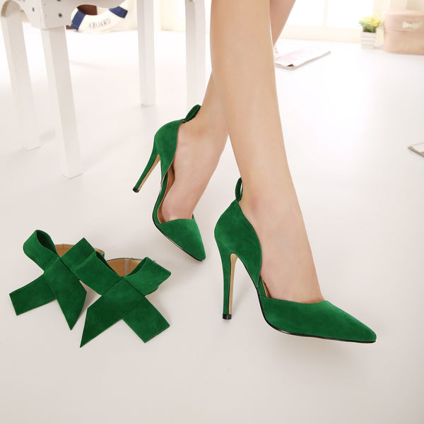Charming Removable Big Bow High Heel Heels Shoes - Meet Yours Fashion - 20