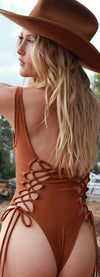 Sexy Lace Up Hollow Out Pure Color One Piece Swimwear