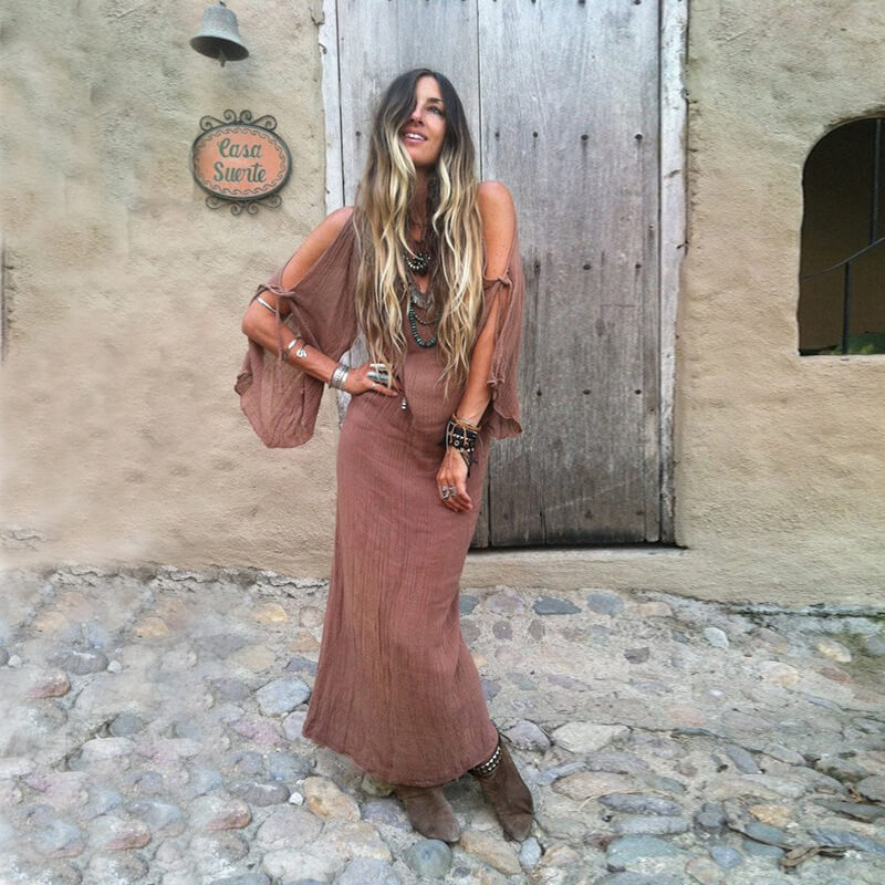Cold Shoulder Boho Long Dress