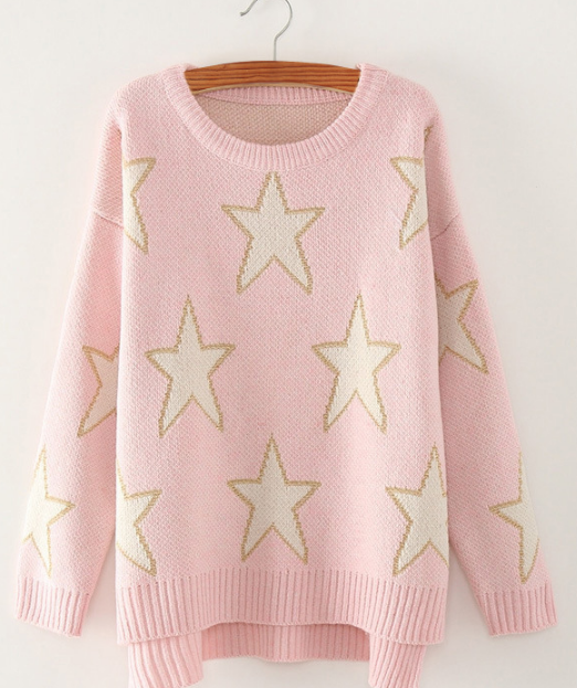 Print Cute Loose Scoop Knit Pullover Sweater - Meet Yours Fashion - 1