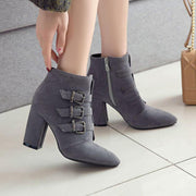 Winter Point Toe Suede Buckle Ankle Boots