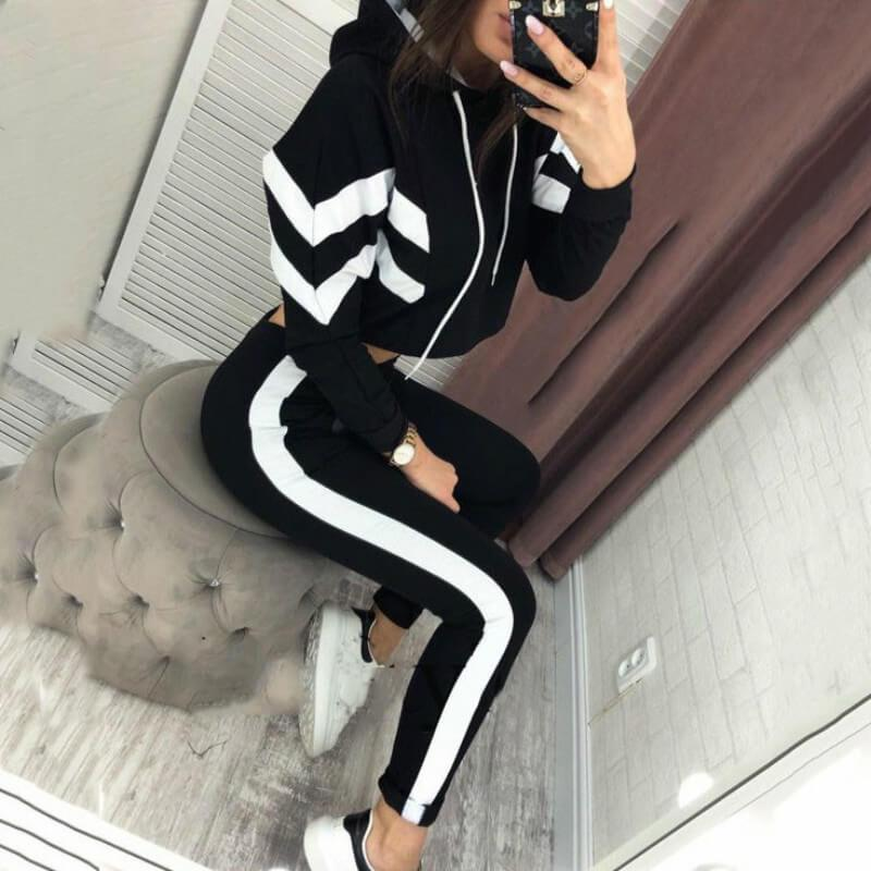 Striped Hooded Blouse Long pants Set