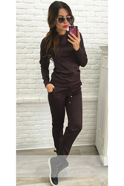 Pure Color Sweatshirt with Skinny Pants Two Pieces Set
