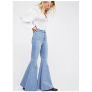 High Waist Pure Color Slim Zipper Big Bell-bottomed Long Jeans Denim Pants