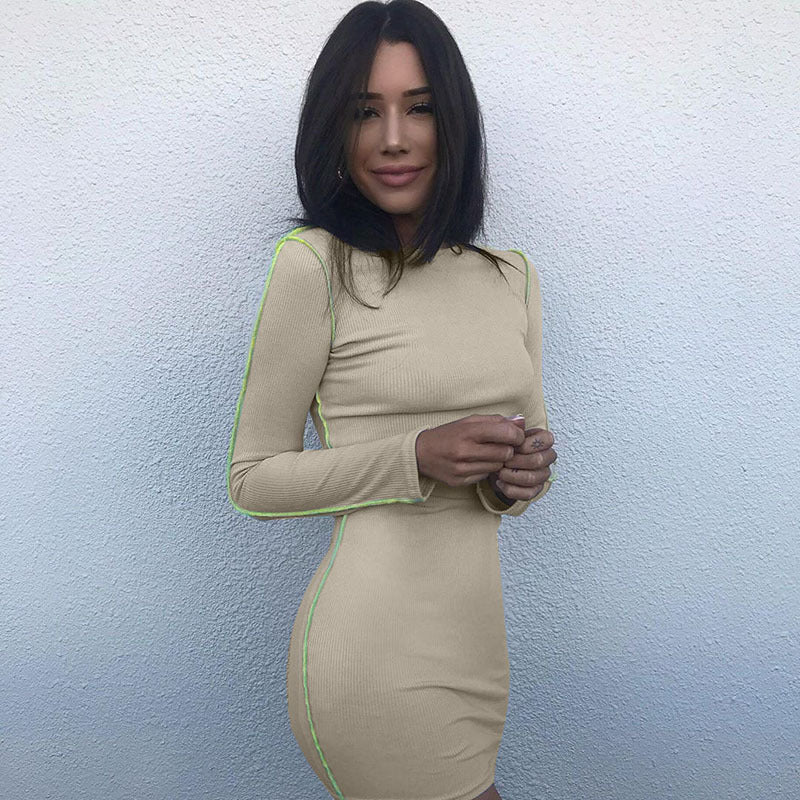 Apricot Plain Long Sleeve O Neck Bodycon Dress