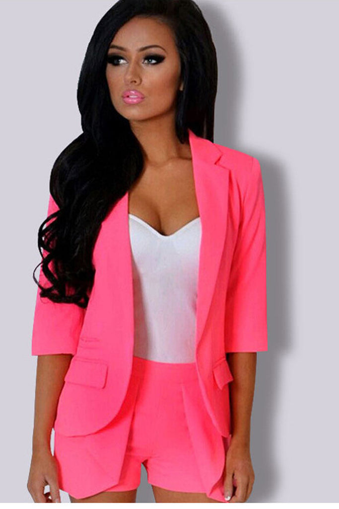Candy Color 3/4 Sleeveless Short Blazer