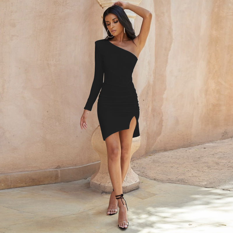 One Shoulder Ruched Irregular Bodycon Dress