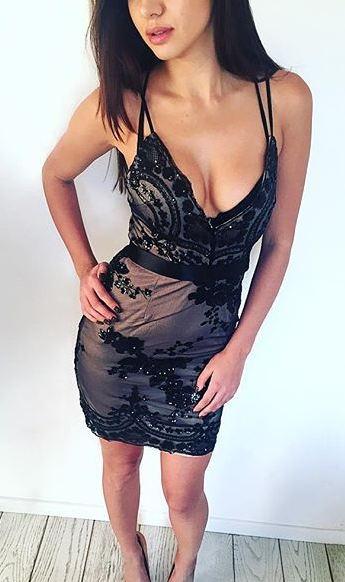 Deep V-neck Backless Spaghetti Strap Bodycon Short Dress