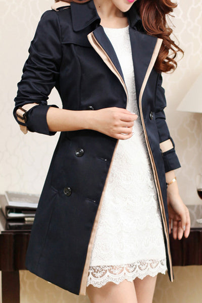Pure Color Lapel Double Breasted Strap Belt Middle Length Coat