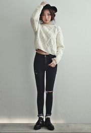 Cable Retro Solid Color Scoop Knit Sweater - Meet Yours Fashion - 1
