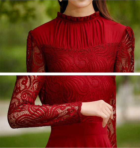 Charming Long Lace Sleeves Pleated Chiffon Long Red Maxi Dress - MeetYoursFashion - 5