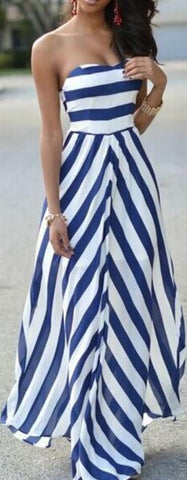 Sexy Strapless Stripe Long Dress