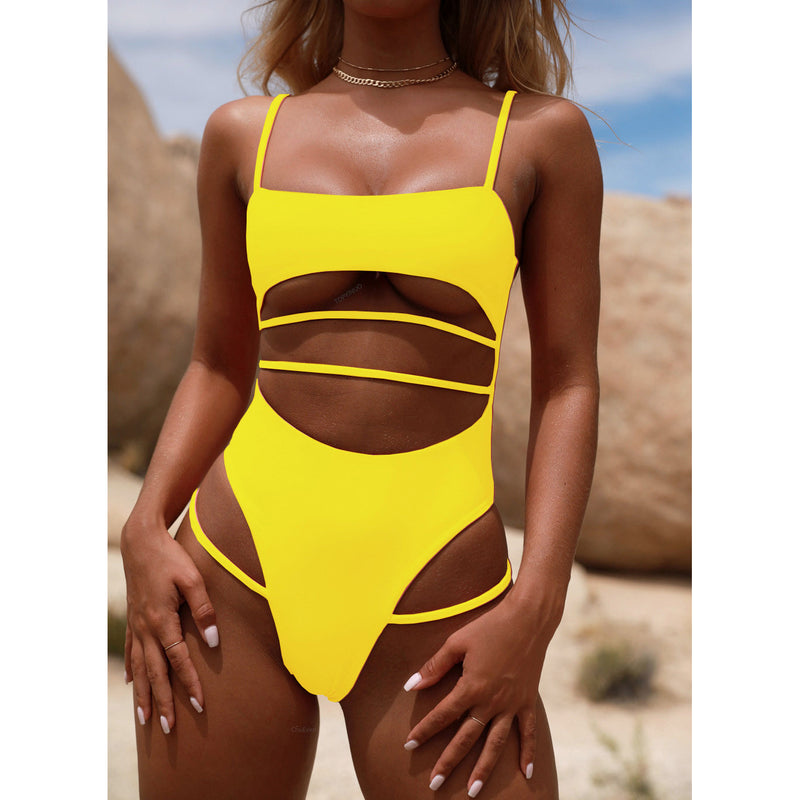 Straps Bandage Spaghetti Straps Hollow Out One Piece Swimwear