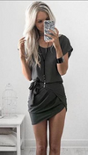 O-neck Irregular Pure Color Short Sleeve Short Dress - Meet Yours Fashion - 1