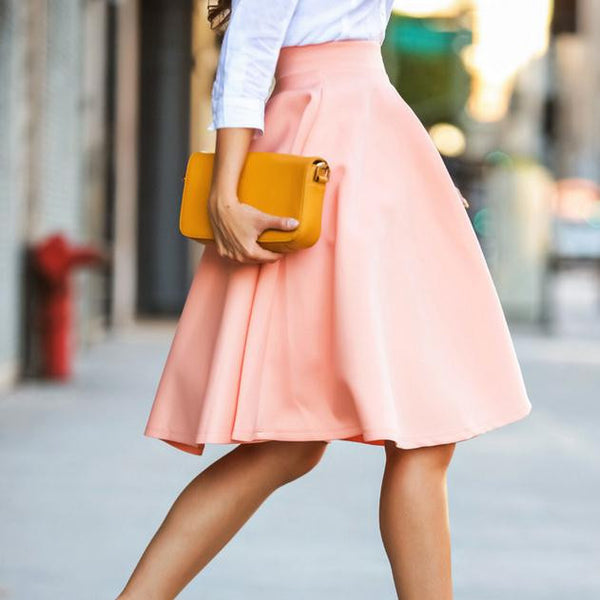 OL Pleated Pure Color Flared A-line Knee-legth Skirt - Meet Yours Fashion - 2