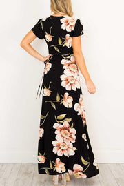 V-neck Flower Print Long Dress