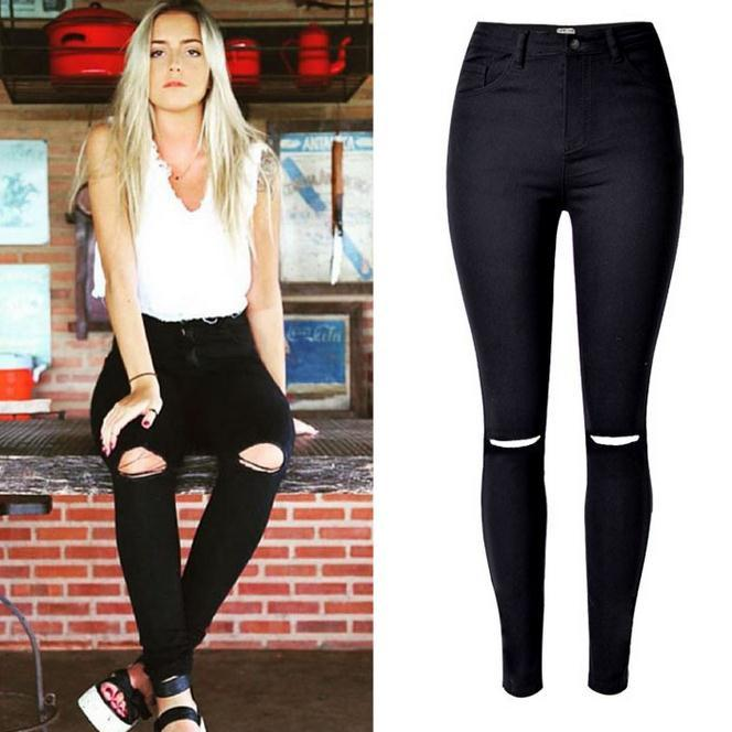 Elastic High Waist Plus Size Holes Beggar Slim Jeans - Meet Yours Fashion - 1