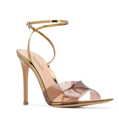 Summer Brown PVC Point Toe Buckle High Heel Sandals