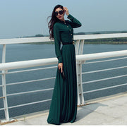 Long Sleeves Chiffon Button Decorate Pleat Long Maxi Dress - MeetYoursFashion - 5