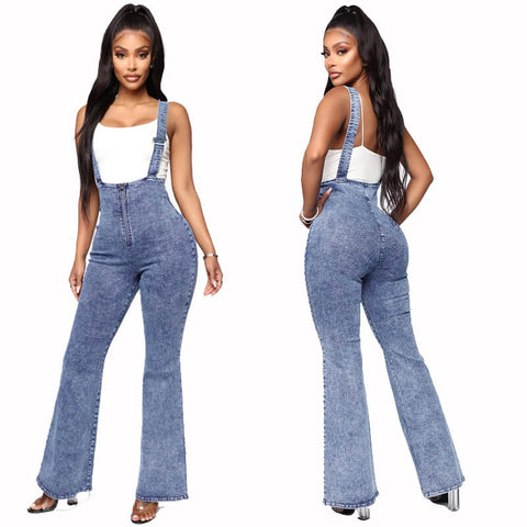 Sexy Flare High Waist Stretch Suspenders Denim Pants