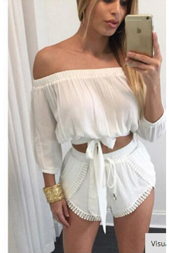 Chiffon Off Shoudler Crop Top with Shorts Two Pieces Set