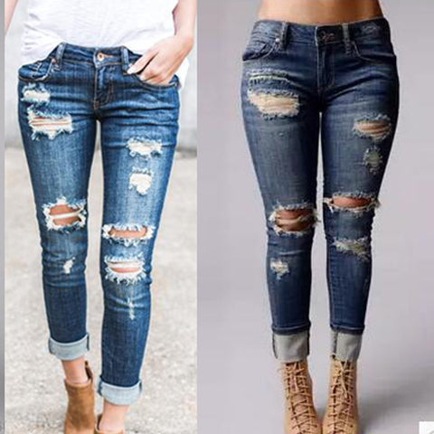 Ripped Slim-Fit Skinny Jeans Blue Pants