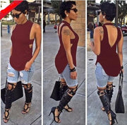 Backless Sleeveless High Neck Slim Sexy Blouse - Meet Yours Fashion - 6