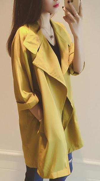 Slim 3/4 Sleeves Turn-down Collar Long Loose Coat - Meet Yours Fashion - 1