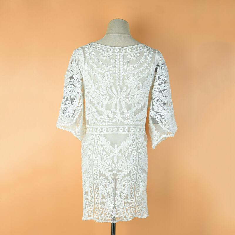 Half Sleeve Cover Up Lace Beach Dress