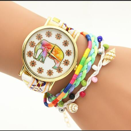 Elephant Print Colorful Strap Watch