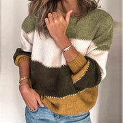 Crewneck Colorblock Patchwork Sweater