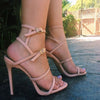 Pink Buckle Cutout High Heel Sandals