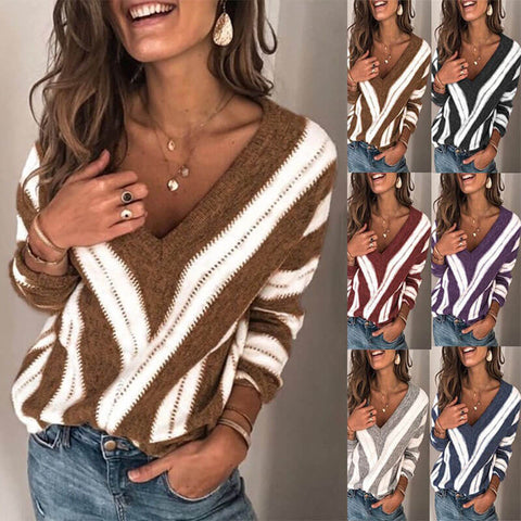 V Neck Striped Colorblock Knit Sweater