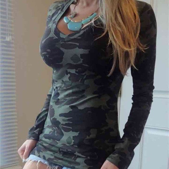 Camouflage Print V-neck Long Sleeves Slim Blouse