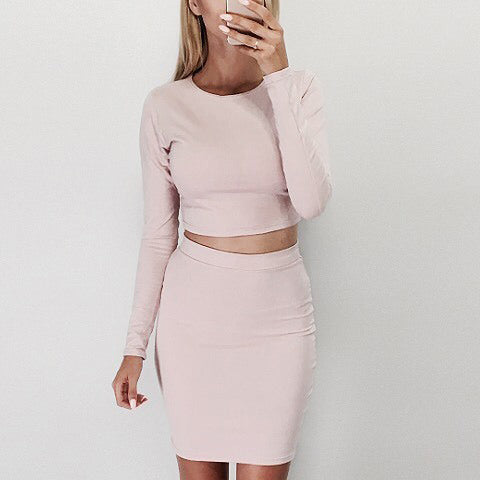Pure Color Crop Top with Short SkirtTwo Pieces Dress Set