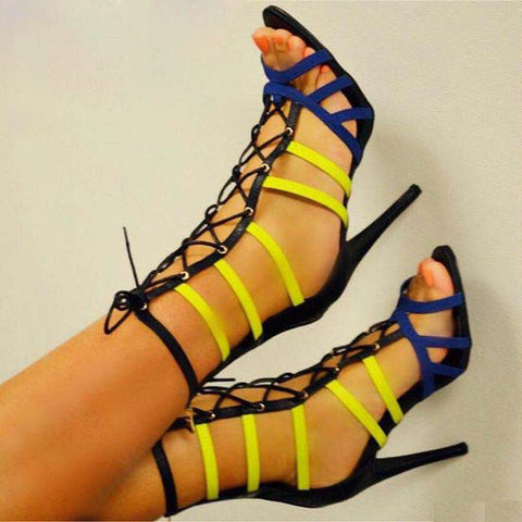 High Heel Lace Up Peep Toe Cutout Sandals