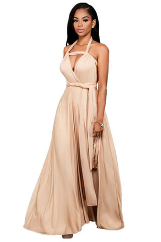 Pure-Color--Bandage-Sleeveless-Backless-Long-Party-Dress