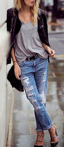 Beggar Style Holes Ripped Frayed Loose Long Jeans - Meet Yours Fashion - 1