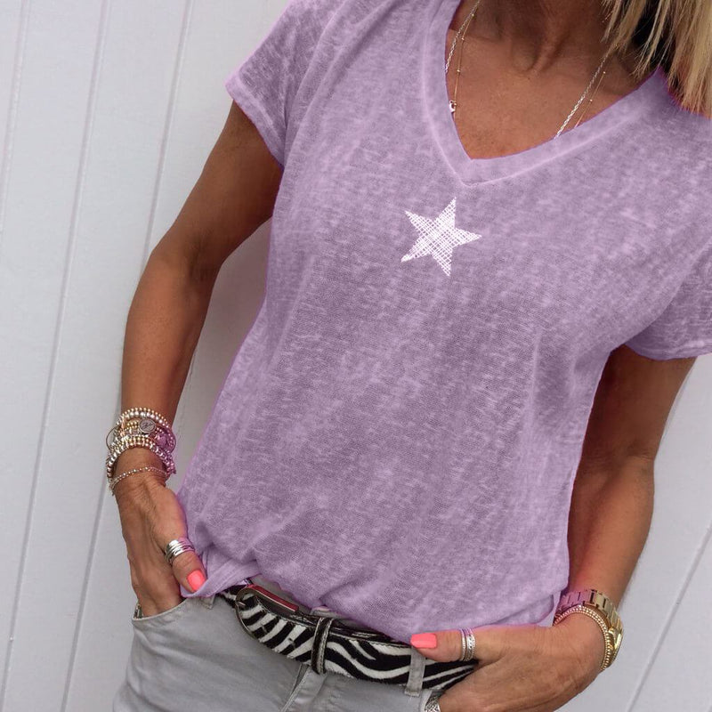 Star V-neck T-shirt