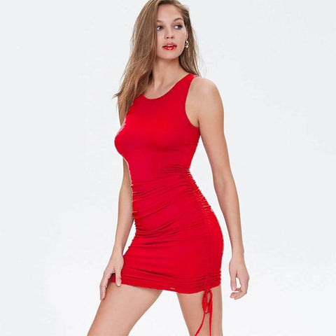 Drawing Sleeveless Bodycon Short Dress