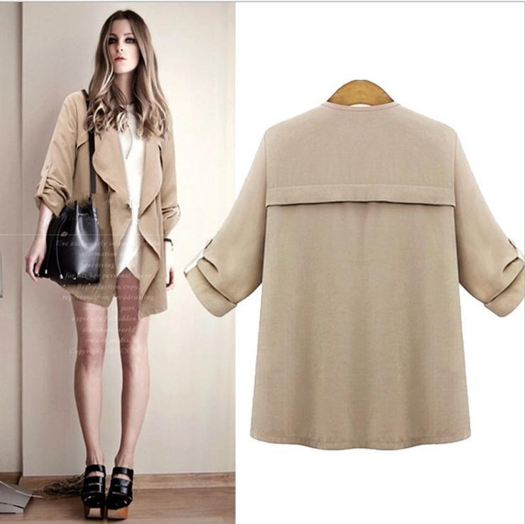 Plus Size Lapel Long Sleeves Casual Loose Coat - Meet Yours Fashion - 6