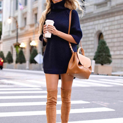 Turtleneck Half Sleeve Crochet Long Sweater