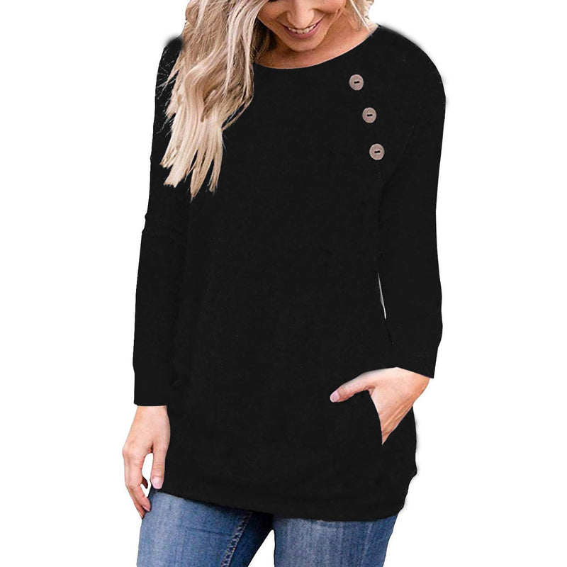 Button Scoop Long Sleeves Pockets T-shirt