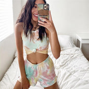 Casual Tie Dye Tank Top High Waist Bodycon Two Pieces Set