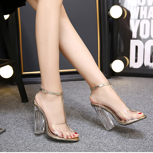Chunky Heel Transparent Peep-toe Summer Ankle Strap Sandals