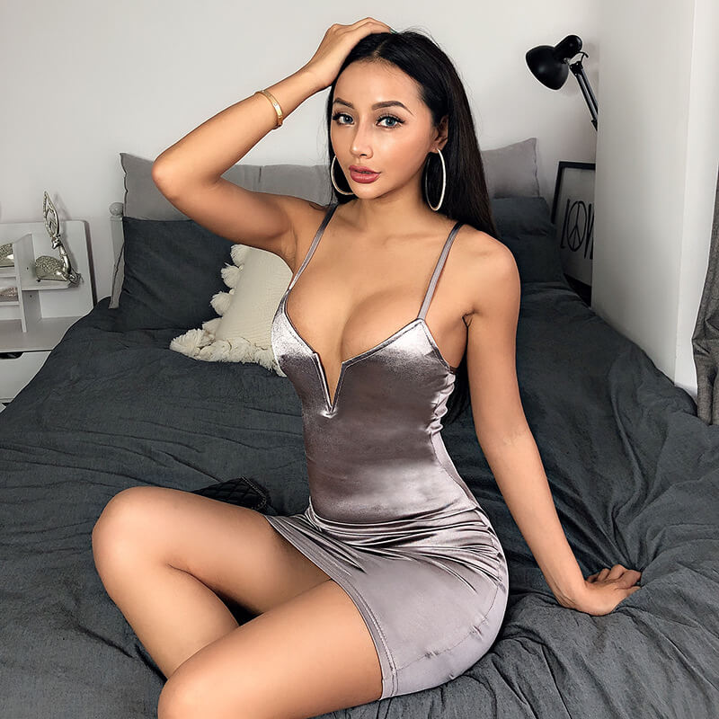 Metallic V Neck Sling Dress