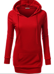 Solid Color Hooded Long Sleeve Pullover Slim Hoodie - Meet Yours Fashion - 1
