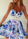 Flower Print Spaghetti Strap Sleeveless Open Back Short Dress - Meet Yours Fashion - 1