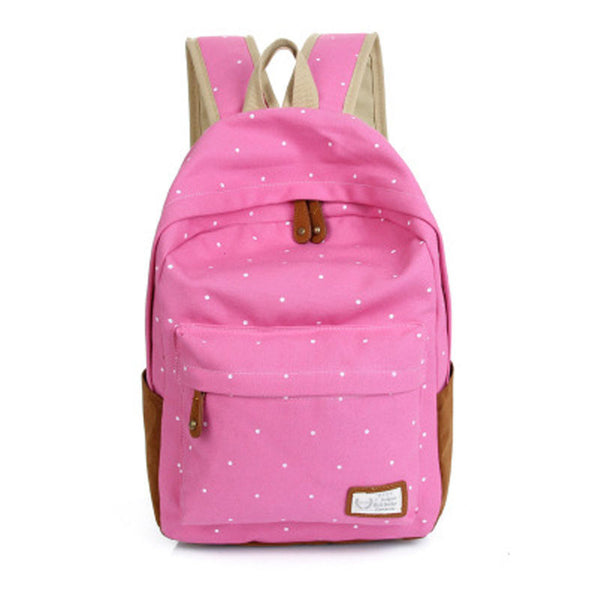 Polka Dot Candy Color Canvas Backpack School Bag - Meet Yours Fashion - 3
