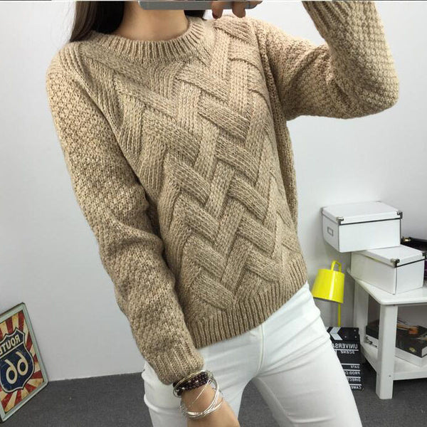 Cable Pattern Knit Scoop Solid Color Pullover Sweater
